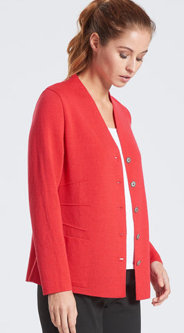 V Neck Darted Jacket (12/S) - Scarlet