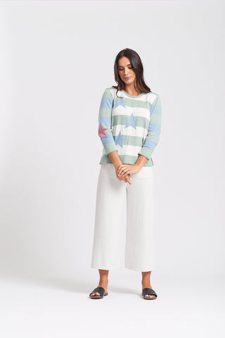 3/4 Sleeve Stars & Stripe Top - Sage