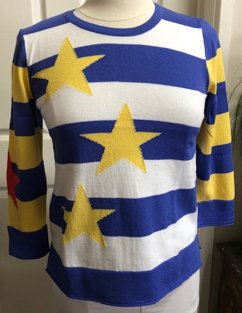 3/4 Sleeve Stars & Stripes Top - Brights