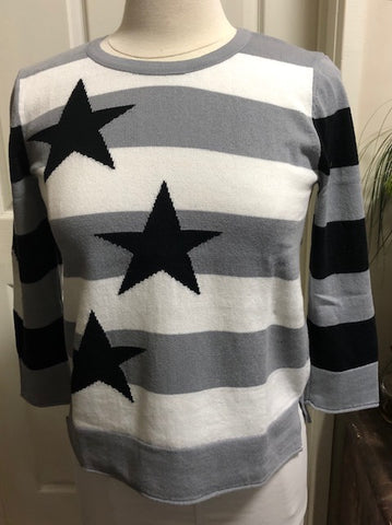 3/4 Sleeve Stars & Stripes Top - Pewter
