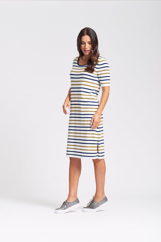 Multi Striped Dress with Button Split - Olive/Navy