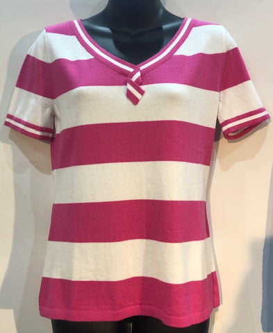 Wide Stripe V Neck Tee - Hibiscus/White