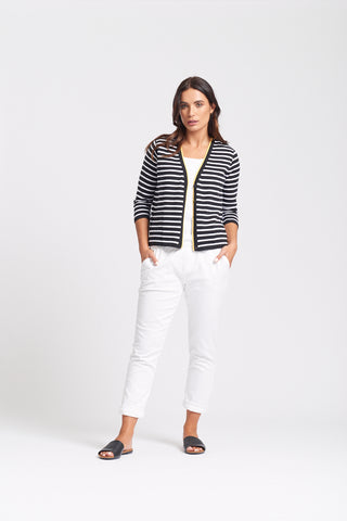 Stripe & Daisy Cardigan - Black/White/Yellow