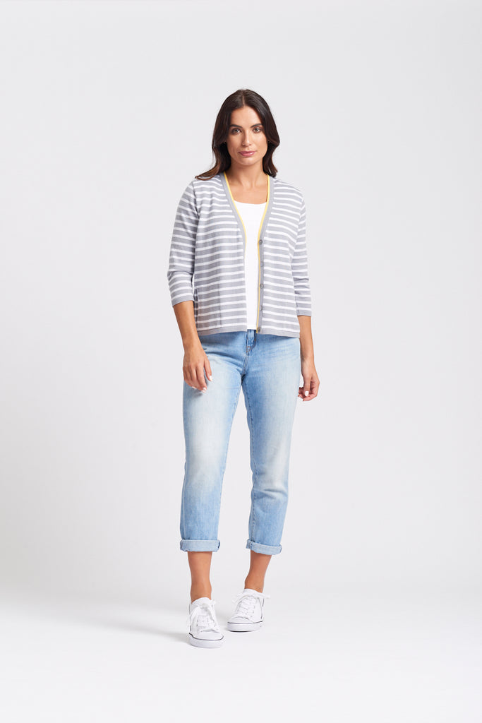 Stripe & Daisy Cardigan - Pewter/White/Yellow