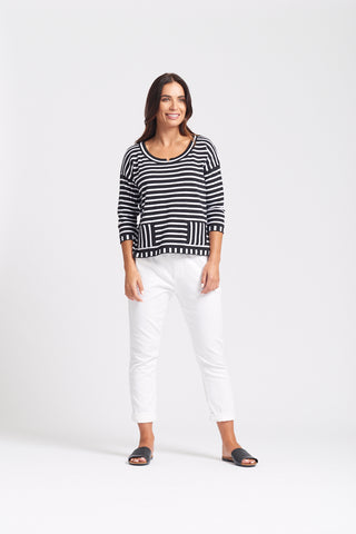 Drop Shoulder Striped Top - Black/White
