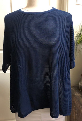 S/S Oversized Ripple Top - Navy