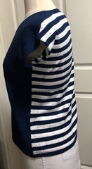 S/S Striped Back T Shirt - Navy 1/2 PRICE