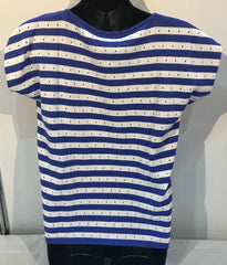 S/S Striped Back Top - Baja Blue