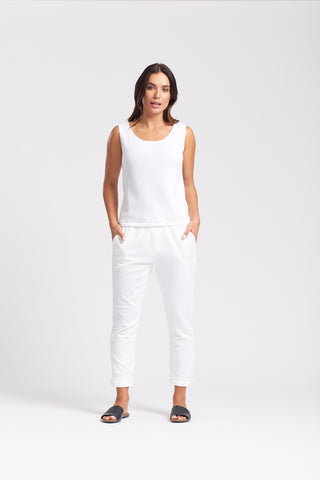 Sleeveless Shell Top - White