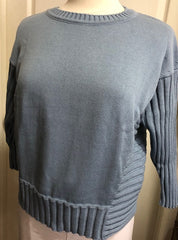3/4 Ribbed Sleeve Sweater - Denim
