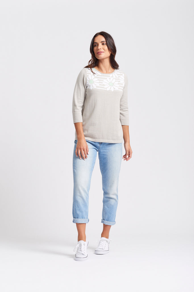 3/4 Sleeve Stripe & Daisy Yoke Top - Linen