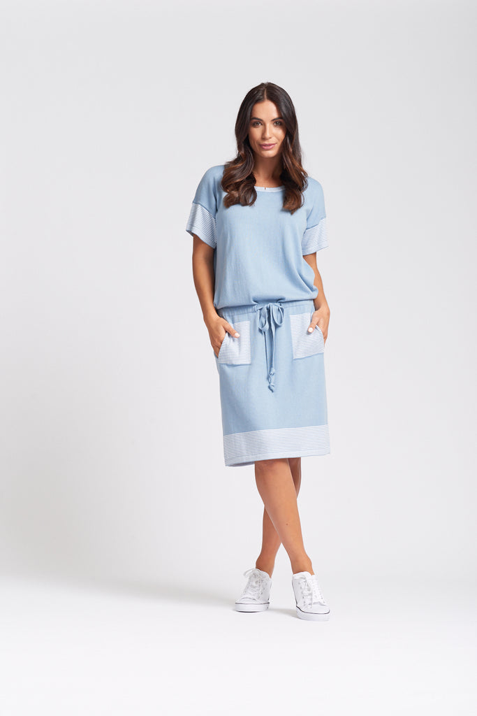 Short Sleeve Belted Dress Denim -SALE 1/2 PRICE