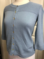 3/4 Sleeve BTN Cardigan - Denim 1/2 PRICE