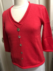 3/4 Sleeve V Neck Button Sweater - Guava