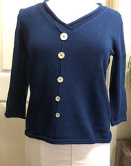 3/4 Sleeve V Neck Button Sweater - Navy