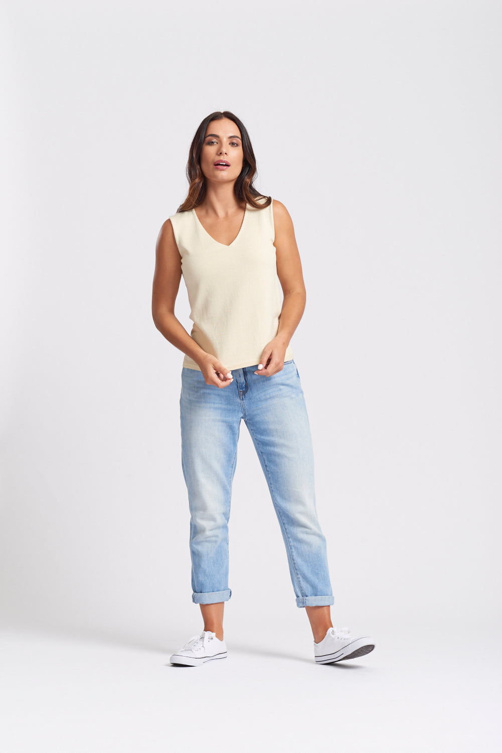 Sleeveless V Neck Top - Buttermilk