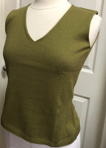 Sleeveless V Neck Top - Olive