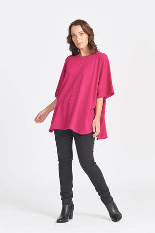 Superfine Merino Wool Oversized Over Top - Cerise