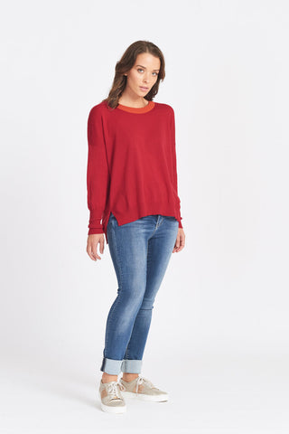 Superfine Merino Wool Contrast Neck band Drop shoulder Jumper