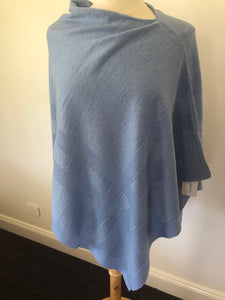 Extra Fine Merino Wool Self Grid Poncho - China Blue