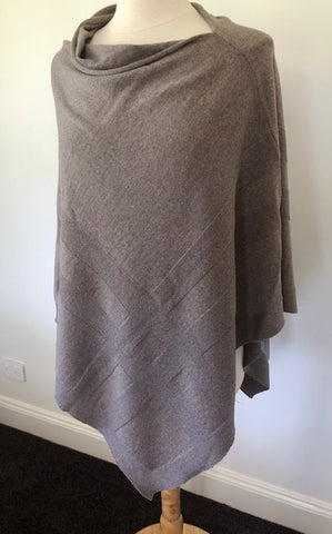 Extra Fine Merino Wool Self Grid Poncho - Doeskin