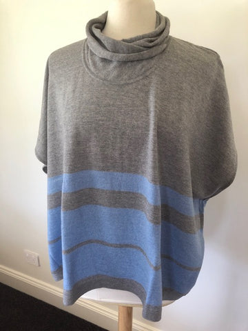 Oversized Wrap Neck Stripe Jumper (S/M)- China blue/pewter