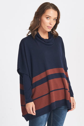 Superfine Oversized Wrap Neck Stripe Jumper  - Navy/Sienna