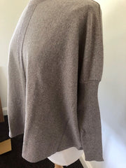 Superfine Merino Oversized Ribbed Sleeve Jumper - Doeskin