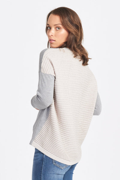 Superfine Merino Wool Ripple Back Jumper - Pewter/Sand
