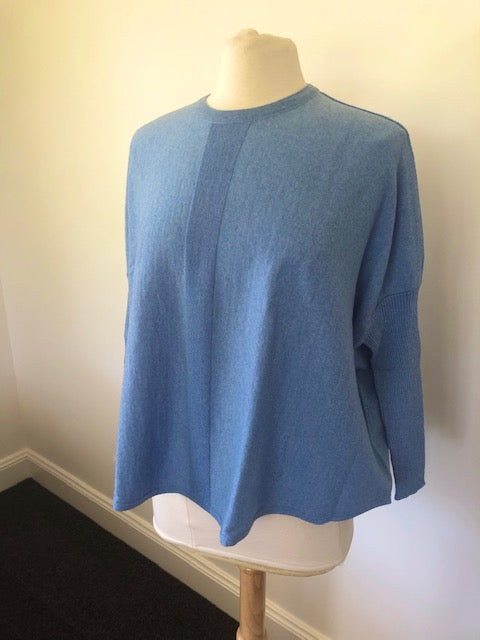 Superfine Merino Oversized Ribbed Sleeve Jumper - China Blue