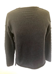 Wool/Alpaca Pattern Sleeve Jumper - Graphite
