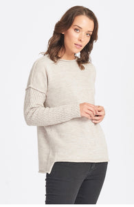 Wool/Alpaca Pattern Sleeve Jumper - Sand