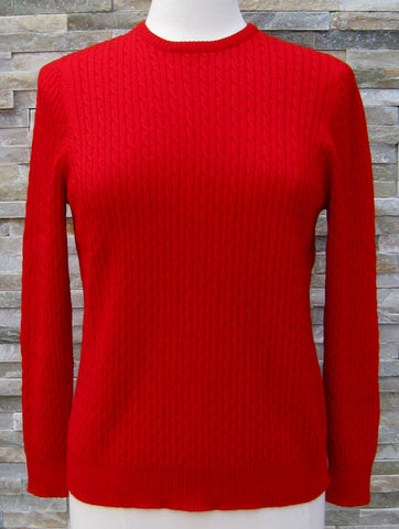 Cable Crew Neck Jumper - Red - Size 16/L