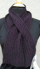 Scarf, Cable Keyhole - Grape - REDUCED BY 20%