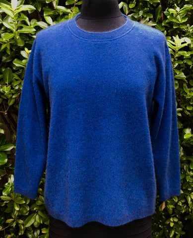 Unisex Moss Stitch Possum Jumper - Cobalt -   1/2 PRICE