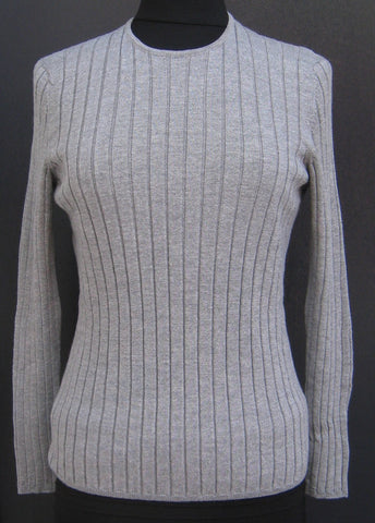 Crew Neck Rib Jumper - Light Pewter