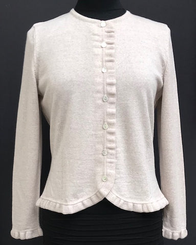 Frill Trim Cardigan - Light Sand