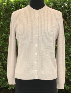 Cable Cardigan - Light Sand - Size 16/L