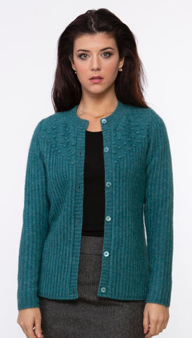 Ribbed Possum Cardigan - Lagoon