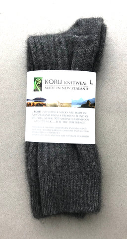 Possum Socks, Koru Ribbed  - Grey