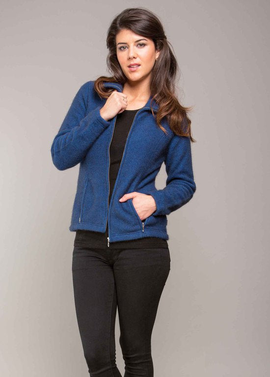 Shaped Possum Zip Jacket - Cobalt
