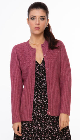 Ribbed Possum Cardigan - Rose