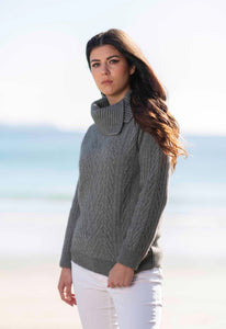 Wool/Possum Cable Jumper - Mist