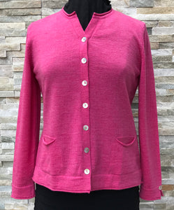 Shell Button Cardigan - Light Fuchsia