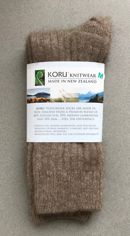 Possum Socks, Koru Ribbed  - Mocha