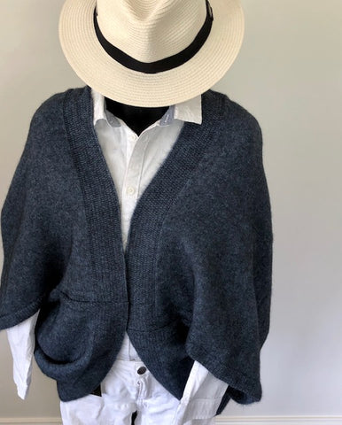Wool/Possum Switch Back Cardigan - Neptune