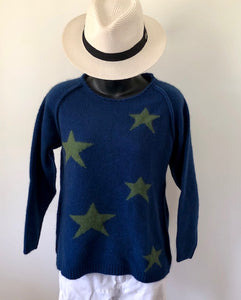Wool/Possum Southern Cross Jumper - Navy/Green