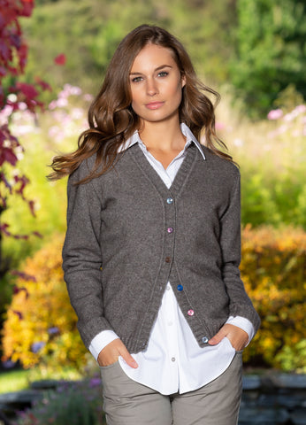 Wool/Possum Aries Cardigan - Shale or Cornflower