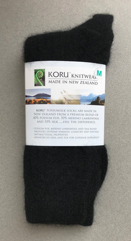 Possum Socks, Koru Ribbed  - Black