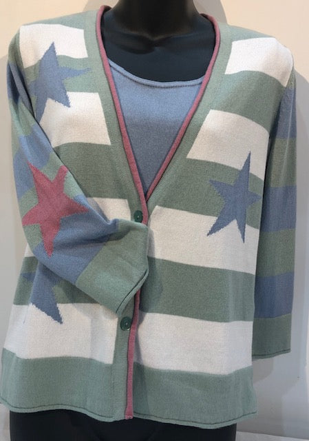 Stars & Stripes Cardigan - Sage